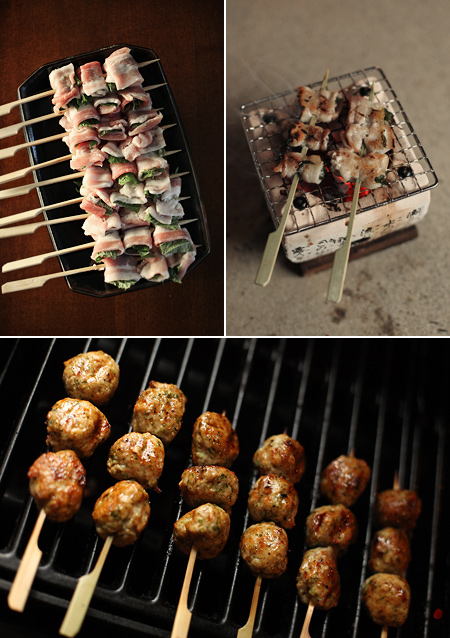 pork belly and shiso; grilling on the konro; tori no tsukune on the weber