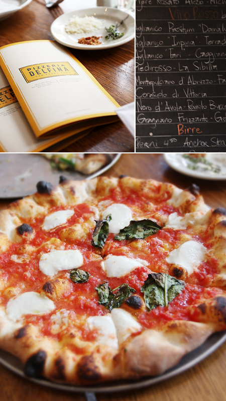 menu; libations; margherita pizza