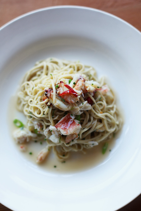 tagliarini, dungeness crab, calabrian chiles, scallions