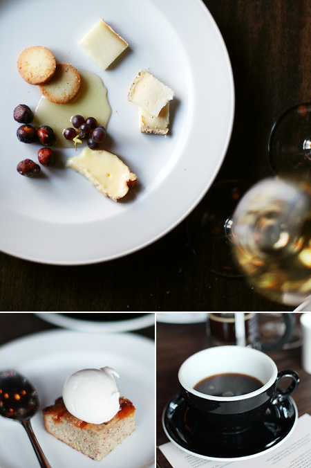 cheese plate; coffee; apricot brown butter spice cake